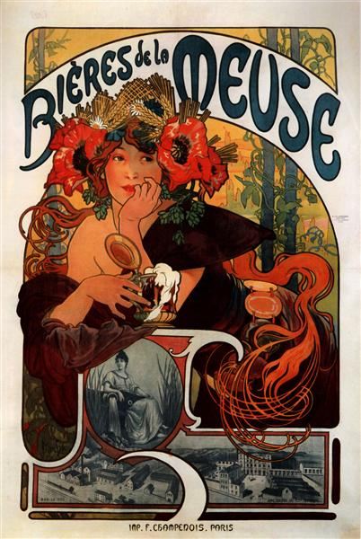 Beer of the Meuse, 1897 - Alphonse Mucha