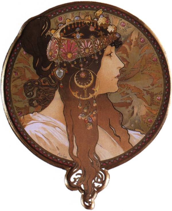 Alphonse Mucha (1860-1939), Byzantine Head. The Brunette (1897) [600×733]