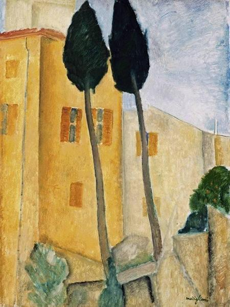 Cypress Trees and House, 1919 - Amedeo Modigliani