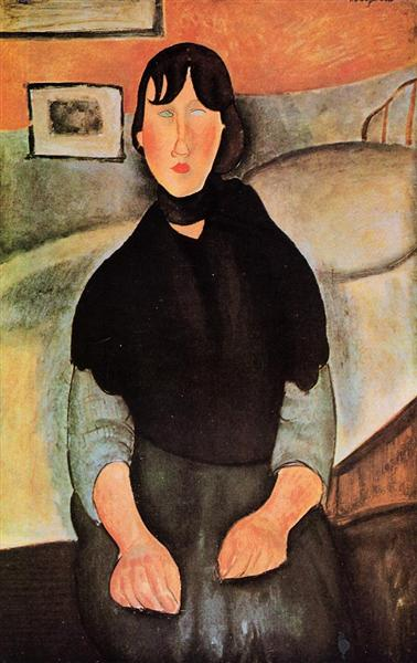 Dark Young Woman Seated by a Bed, 1918 - Amedeo Modigliani