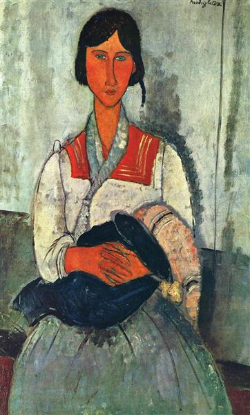 Gypsy Woman with a Baby, 1919 - Amedeo Modigliani