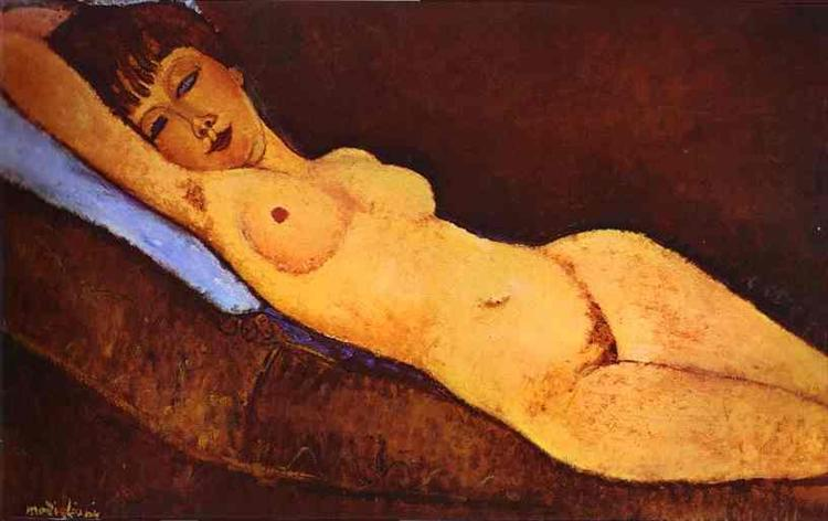 Reclining nude with Blue Cushion, 1917 - Amedeo Modigliani