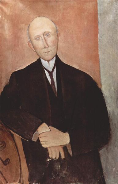 Sitting man on orange background, 1918 - Amedeo Modigliani