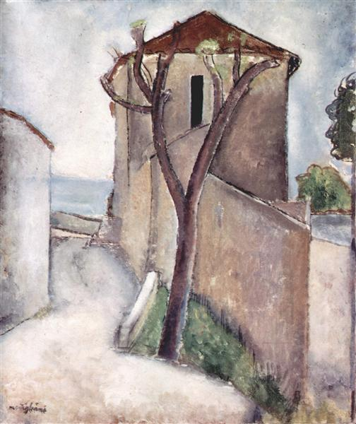 Tree and house, 1919 - Amedeo Modigliani