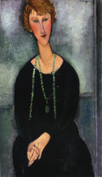 Woman with a Green Necklace (Madame Menier), 1918 - Amedeo Modigliani