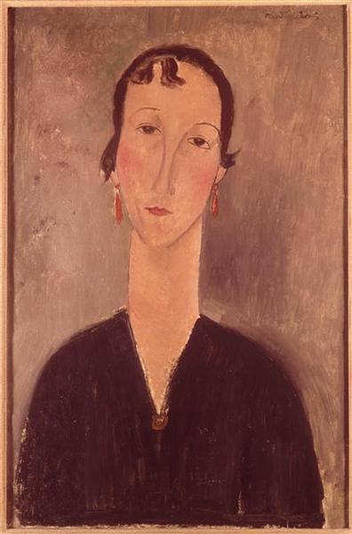 Woman with earrings, c.1917 - Amedeo Modigliani