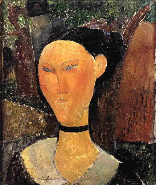 Woman with Velvet Ribbon (The Black Border), 1915 - Amedeo Modigliani