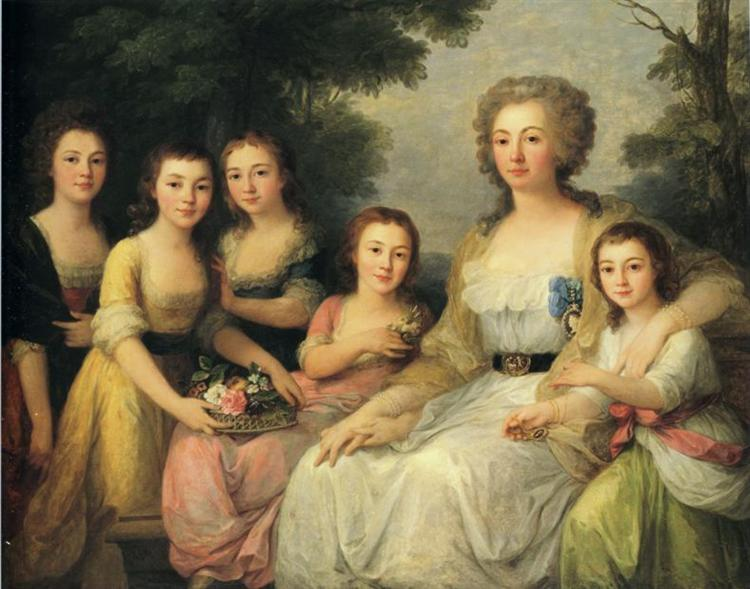 Portrait of Countess A S Protasova with Her Nieces, 1788 - Angelika Kauffmann