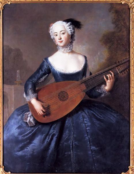 Portrait of Eleonore Louise Albertine, Comtesse von Schlieben-Sanditten, Freifrau von Keyserlingk, wife of Dietrich Cesarion, c.1745 - Antoine Pesne