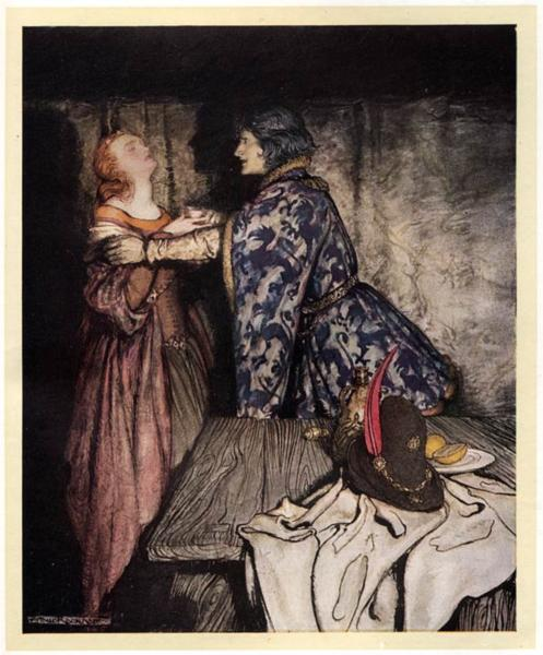 Tristan and Isolde drink the love potion - Arthur Rackham
