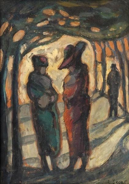 Figures in a wooded park - Arthur Segal