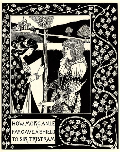 How Morgan Le Fay Gave a Shield to Sir Tristram, 1894 - Aubrey Beardsley