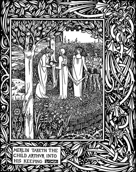 Merlin Taketh the Child Arthur into His Keeping, 1893 - 1894 - Aubrey Beardsley
