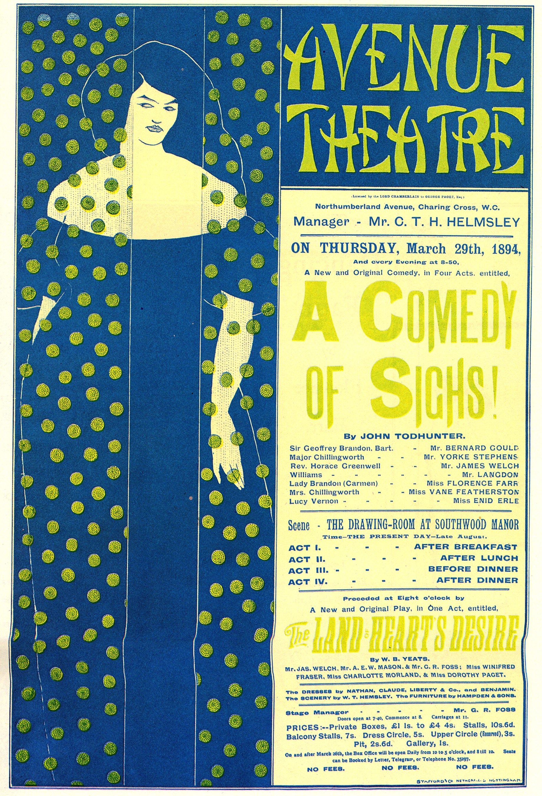 Poster advertising 'A Comedy of Sighs', a play by John ...