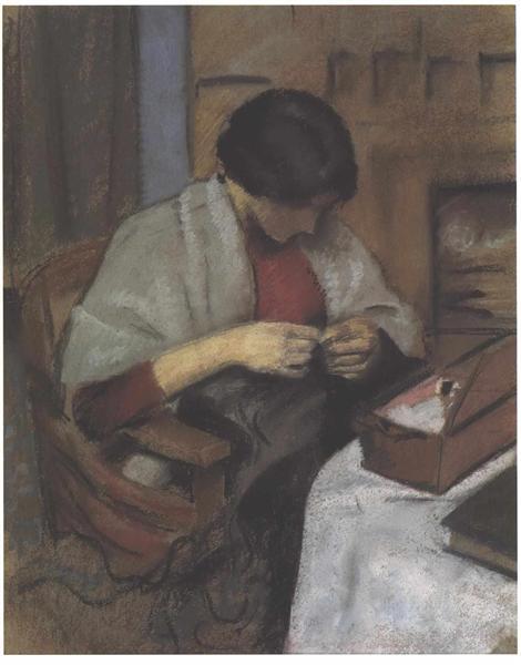 Elisabeth Gerhard sewing, 1909 - August Macke