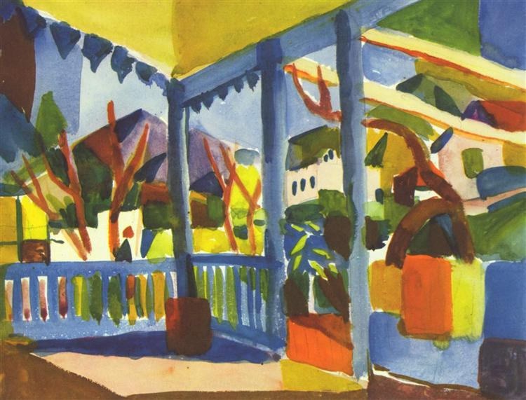 Terrace of the country house in St. Germain, 1914 - Август Маке
