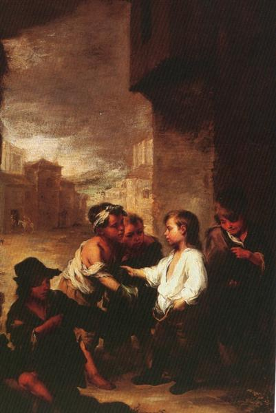 Saint Thomas of Villanueva dividing his clothes among beggar boys, c.1667 - Bartolome Esteban Murillo