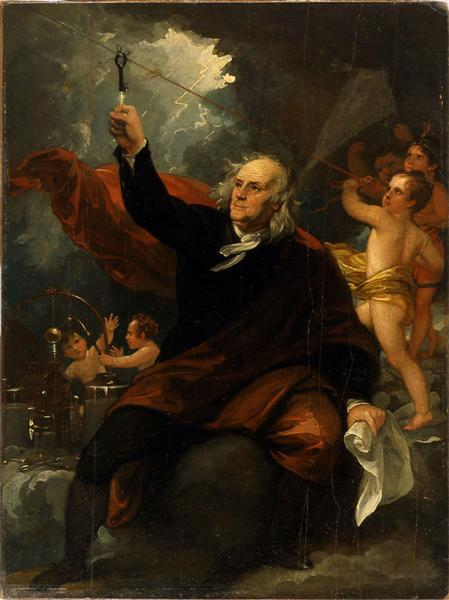 Benjamin Franklin Drawing Electricity from the Sky, c.1816 - Benjamin West