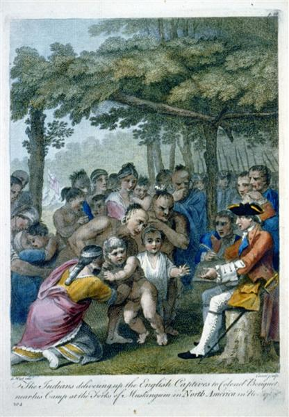 The Indians Delivering up the English Captives to Colonel Bouquet near his camp at the folks of Muskingum, North America in November 1764, c.1769 - Benjamin West
