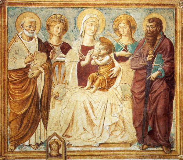 Tabernacle of the Madonna delle Tosse: Maria lactans (detail), 1484 - Benozzo Gozzoli