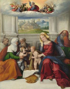 La familia santa con los Santos - Benvenuto Tisi