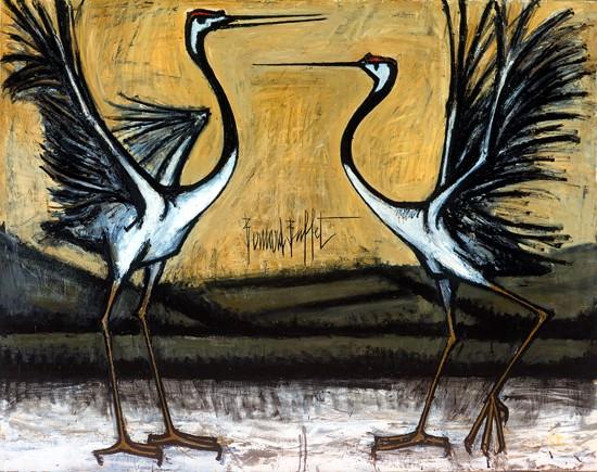 Les grues d'Hokkaido: deux oiseaux combattants, 1981 - Bernard Buffet