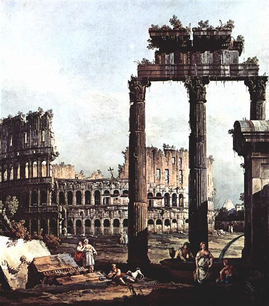 Capriccio with the Colosseum, c.1745 - Бернардо Беллотто