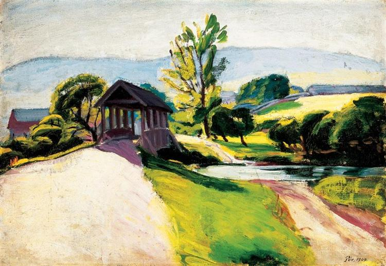 Sunlit Landscape with Bridge, 1909 - Bertalan Por