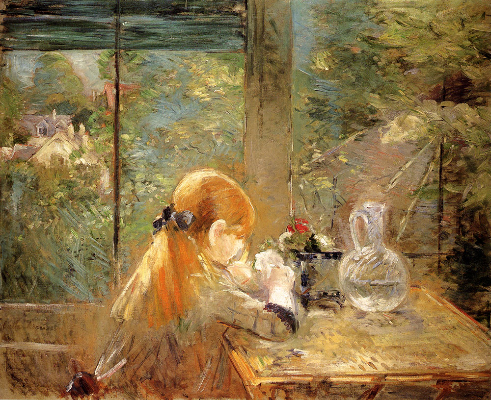 red haired girl sitting on a veranda 1884 berthe morisot. Black Bedroom Furniture Sets. Home Design Ideas