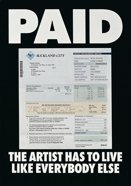 Paid: The artist has to live like everybody else - Billy Apple