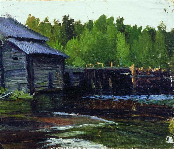 Pavlov's mill on the river Yahrust, 1905 - Boris Michailowitsch Kustodijew