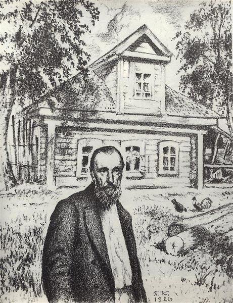 S.P. Podyachev in his hut in the village Obolyaninove, 1926 - Boris Kustodiev