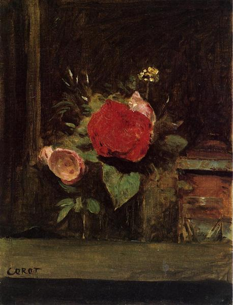 Bouquet of Flowers in a Glass beside a Tobacco Pot, c.1873 - c.1874 - Camille Corot