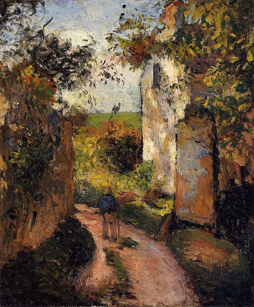 Camille Pissarro: A Peasant In The Lane At Hermitage, Pontoise