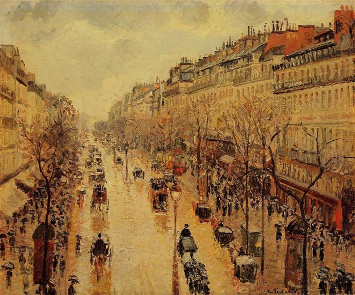 Boulevard Montmartre Afternoon, in the Rain, 1897 - Camille Pissarro