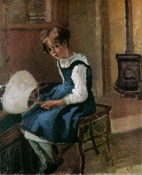 Jeanne Holding a fan, c.1873 - Camille Pissarro