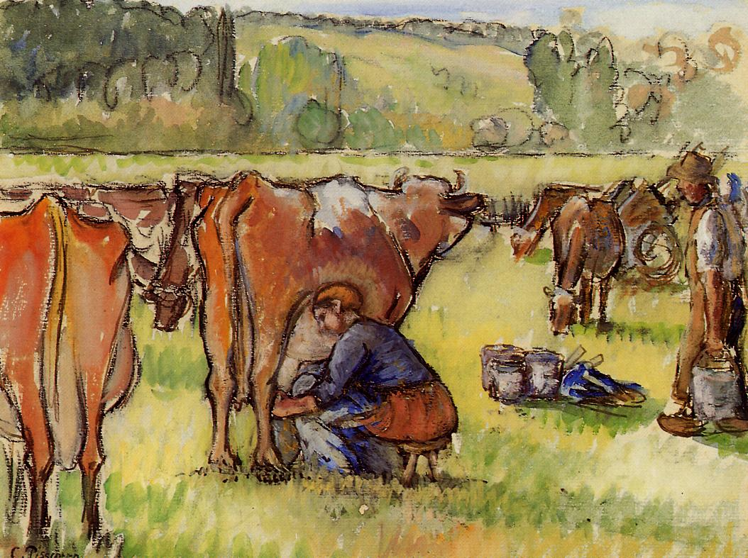 http://uploads8.wikipaintings.org/images/camille-pissarro/milking-cows.jpg