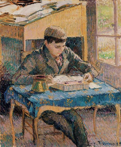 Portrait of Rodo Reading, 1893 - Camille Pissarro
