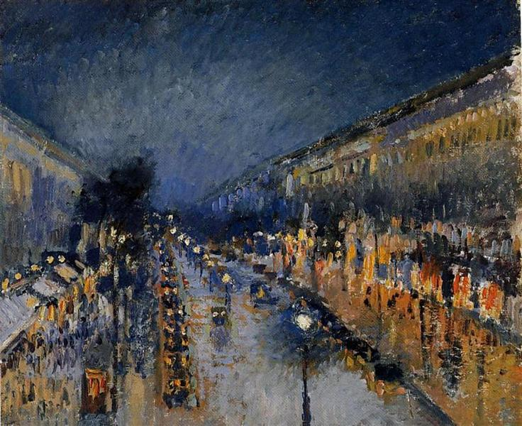 The Boulevard Montmartre at Night - Pissarro Camille