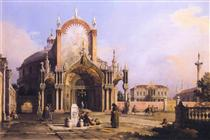 Capriccio di una chiesa rotonda con un elaborato portico gotico in una piazza, una piazza palladiana e una chiesa gotica oltre - Canaletto