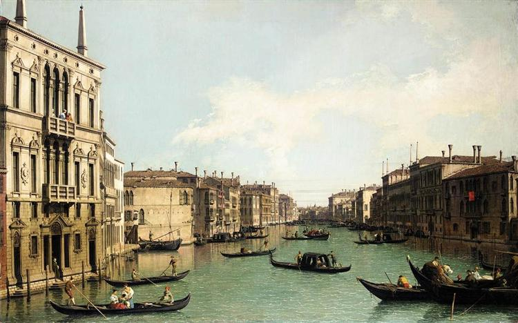 Venice: The Grand Canal, Looking North East from Palazzo Balbi to the Rialto Bridge, c.1724 - Canaletto