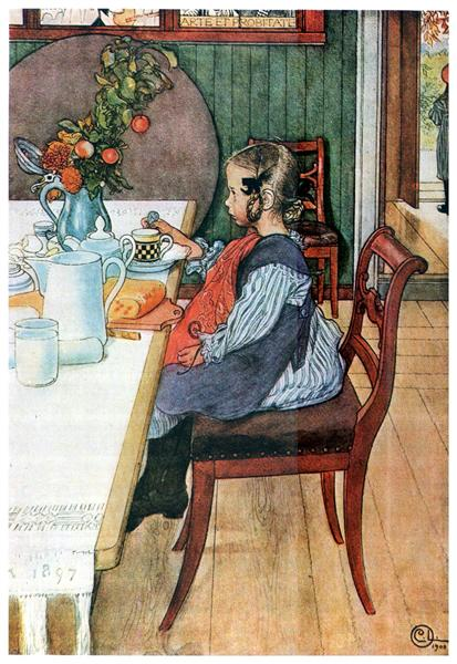 A Late-Riser's Miserable Breakfast, 1900 - Карл Ларссон