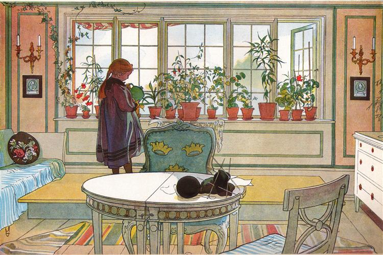 Flowers on the windowsill, 1894 - Carl Larsson