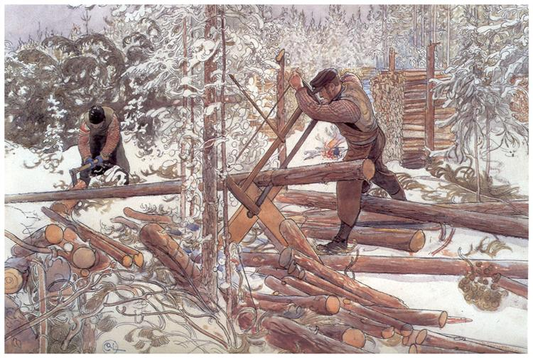 Woodcutters in the forest, 1906 - Carl Larsson