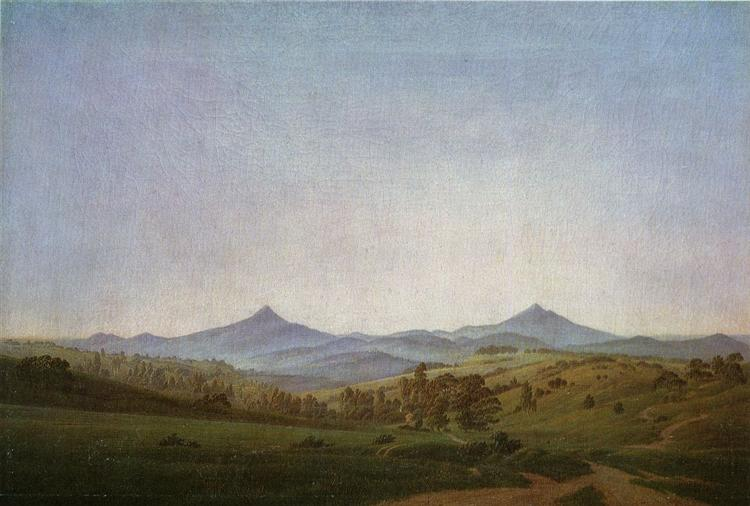 Bohemian Landscape with Mount Millsheauer, 1808 - Caspar David Friedrich