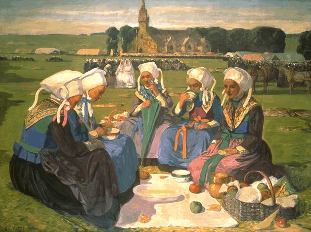 Femmes de Plougastel au Pardon de Sainte-Anne-La-Palud - Charles Cottet