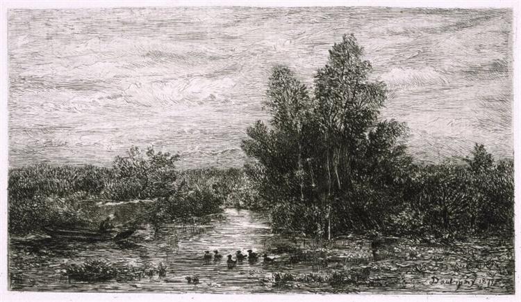 Fisherman on River with Ducks, c.1878 - Charles-Francois Daubigny