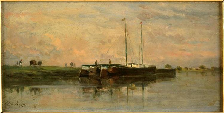 The barges in Bezons - Charles-Francois Daubigny