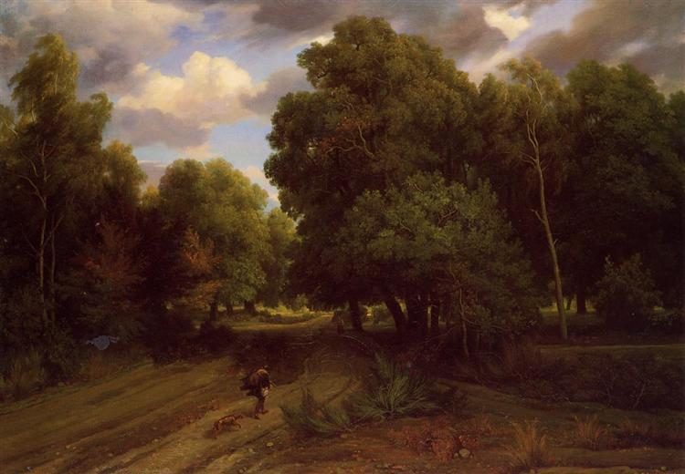 The Crossroads at the Eagle Nest, Forest of Fontainebleau, c.1844 - Charles-Francois Daubigny