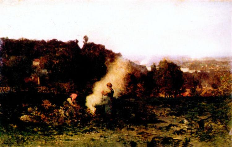Wood fire in the country, 1871 - Charles-Francois Daubigny